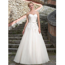 Custom Made Noiva White/Ivory Tulle Applique Sash Pleat Lace Wedding Dress Vestido De Casamento