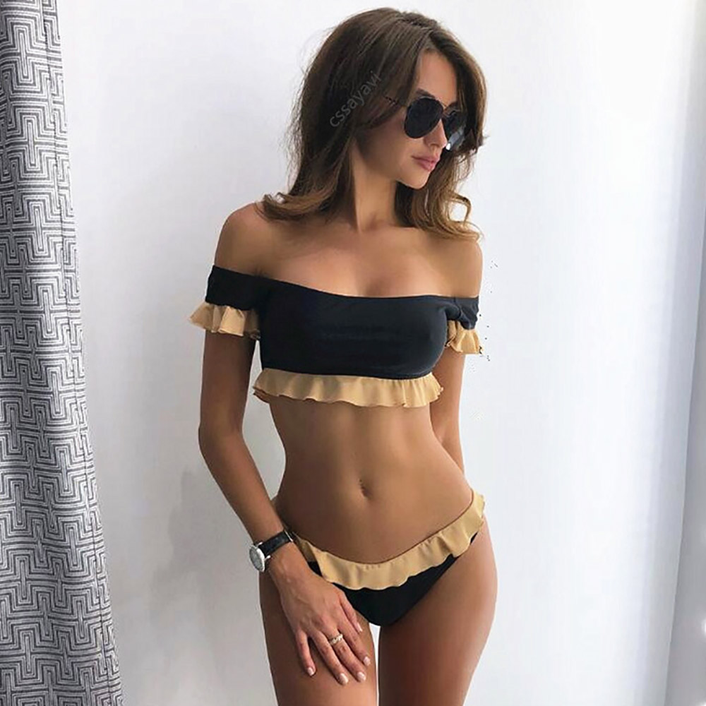 sexy off shoulder bandeau bikinis women push up swimwear. Black Bedroom Furniture Sets. Home Design Ideas
