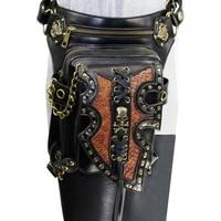 Corzzet Black&Brown PU Leather Steampunk Rock Waist Bags Burlesque Unisex Gothic Bag Halloween Retro Accessories Corset