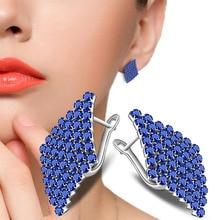 2017 New Design Geometric Blue Clear Austria Crystal Stud Earring AAA Cubic Zirconia Womens Fashion Jewelry Wholesale Price