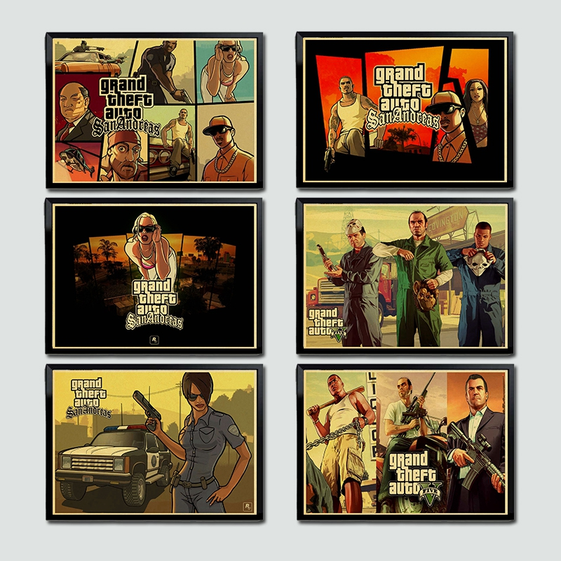 Grand vol Auto V jeu Art rétro affiche imprimé GTA 5 mur photos pour salon Vintage décoratif mur peinture/photo