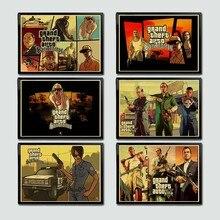 Grand Theft-Póster de Arte de juego en V para sala de estar, pintura de pared/imagen decorativa Vintage, GTA 5