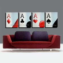 New Hand Painted Poker Oil Painting on Canvas Modern Abstract Game Card Acrylic Paintings Home Wall Decor Group of Pictures