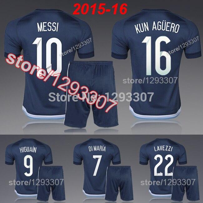 san francisco 494f7 f0d9f US $16.0 |15 16 New Blue Away Embroidery Lionel Messi DI Maria Kun Aguero  Lavezzi Football Kit Uniform Men Sports Shirt Soccer Jersey Set-in Soccer  ...