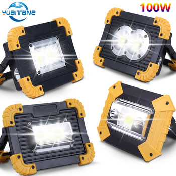 100W Led Portable Spotlight 40000lm Super Bright Led Work Light USB Rechargeable for Outdoor Camping Lampe Led Flashlight 18650 led work light portable spotlight 100w led work lamp rechargeable waterproof light for outdoor working camping 18650