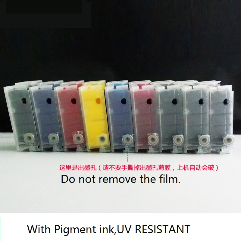 Refillable ink cartridge WITH PIGMENT INK for EPSON P600  T7601-T7609,free shipping refillable color ink jet cartridge for brother printers dcp j125 mfc j265w 100ml