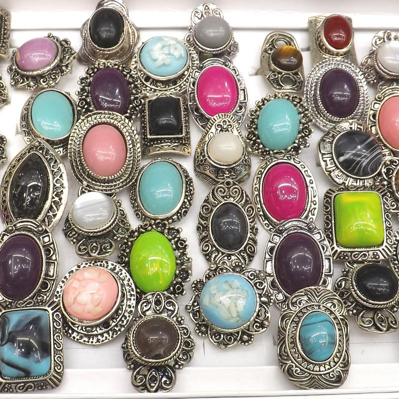 Retro Silver Tone Semi precious Stone Rings Adjustable Costume Rings Mixed Shape 50pcs Lot Wholesale