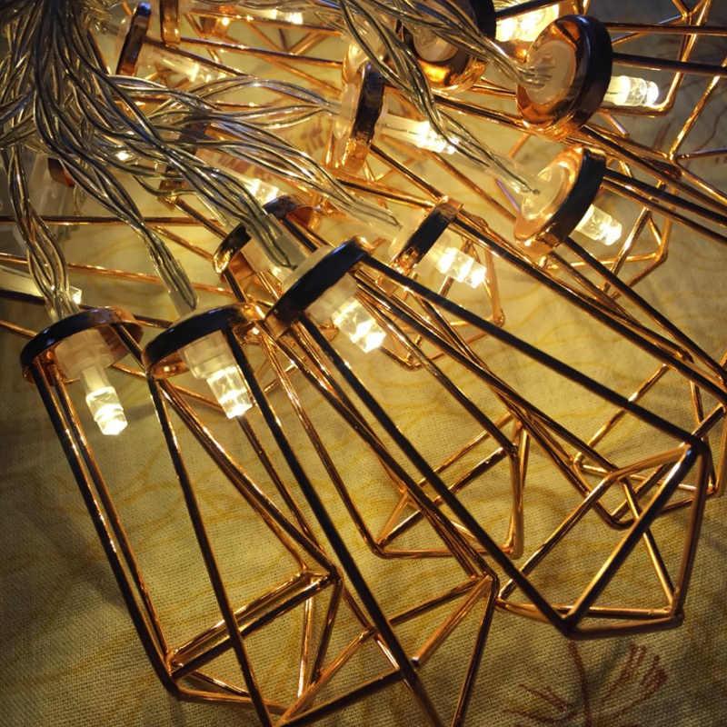 1,1 м 3 м розовое золото металл Diamond String Фея Света Рождество лампа для свадьбы Новогодние украшения светодиодные гирлянда-сетка