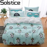 Solstice Home Textile 100 Cotton Cartoon Panda Fashion Stripe Bed Linen Duvet Cover Bed Sheet Linen