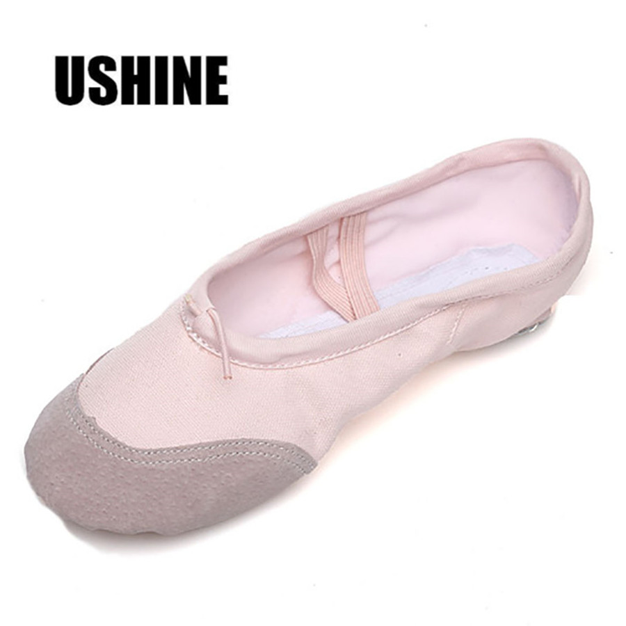 USHINE Pink Professional Canvas Practice Slippers kids Adult Soft Women Ballet Dance Shoes For Girls Children(China)
