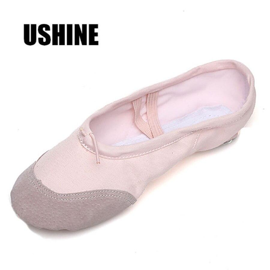 USHINE Pink Professional Canvas Practice Slippers Kids Adult Soft Women Ballet Dance Shoes For Girls Children