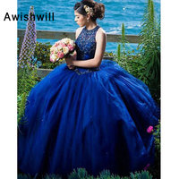 Custom Made Gorgeous Ball Gown Formal Party Dress Sleeveless Crystal Beaded Tulle Royal Blue Quinceanera Dress Sweet 15 Dresses