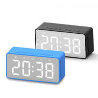 Bluetooth 5.0 Portable Wireless Bluetooth Speaker Clock Subwoofer Music Sound Box LED Time Snooze Alarm Clock for Laptop Phone