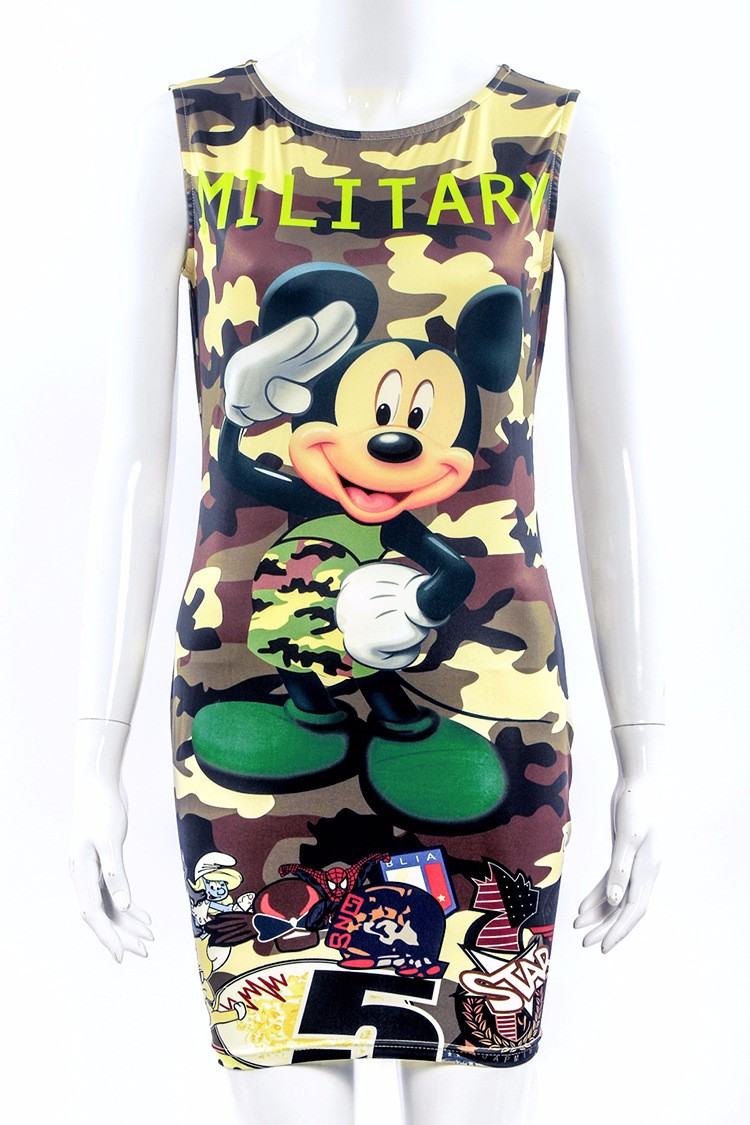 2017 kobiety moda lato bez rękawów bodycon wojskowy kamuflaż cartoon mouse list drukuj sexy mini dress vestido curto cortos 5