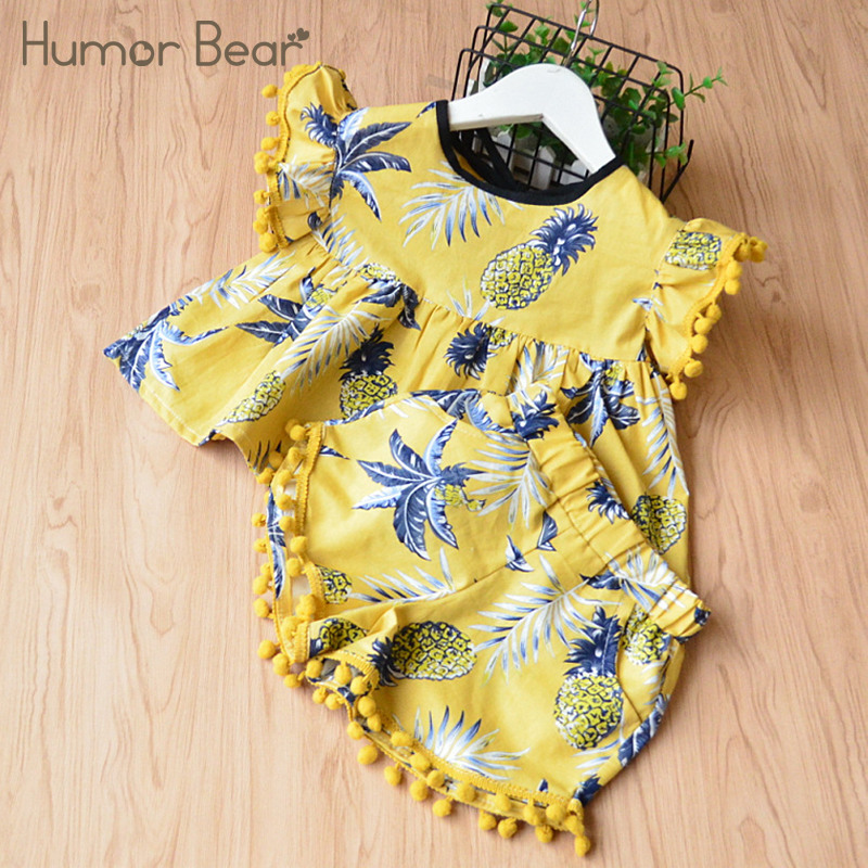Humor Bear/платье для девочек стиль с кисточкой комплект одежды для девочек из футболки и + брюки комплект одежды для детей Комплекты одежды для ...