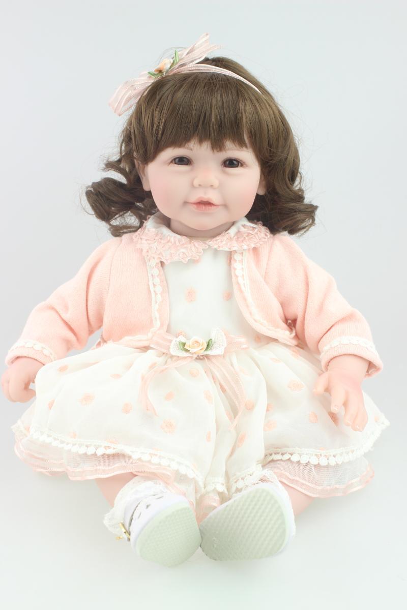 20 ''Silicone reborn baby dolls realistici accompagnare sonno capelli ricci ragazza neonati rinato bambole regalo Di compleanno di Natale brinquedos
