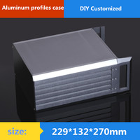 3U aluminum chassis Instrumentation aluminum chassis amplifier aluminum shell / case / enclosure / DIY box (229*132*270mm)