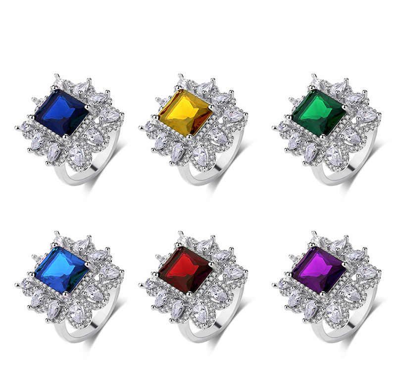 Emerald สีเขียว retro แหวน CZ Cubic Zirconia สีเขียวคริสตัลแหวนหมั้นคริสตัลแหวนสำหรับผู้หญิง Party ของขวัญอัญมณี CZ แหวนหยก