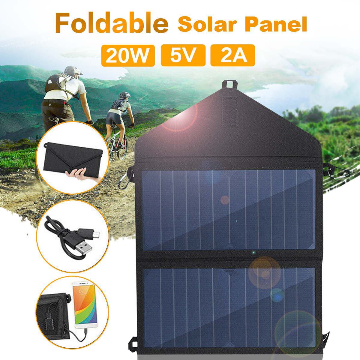 20W USB Solar Panel FoldingWaterproof Power Bank Camping Hiking Battery Charger