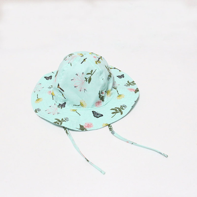 c8721bdcde8 Children s Bucket Hats Baby Fashion Cute Flower Butterfly Fishing Hat A Cap  for A Girl Casual Outdoor Panama Kids Children Caps