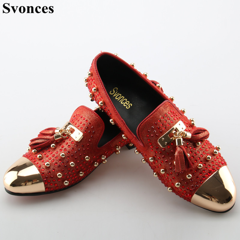 Svonces Fashion Tassel Rivets Party Shoes Men Luxury Brand Design Casual  Shoes Mens Loafers Red Crystal. US  93.80. Genuine leather ... 84d704a19894