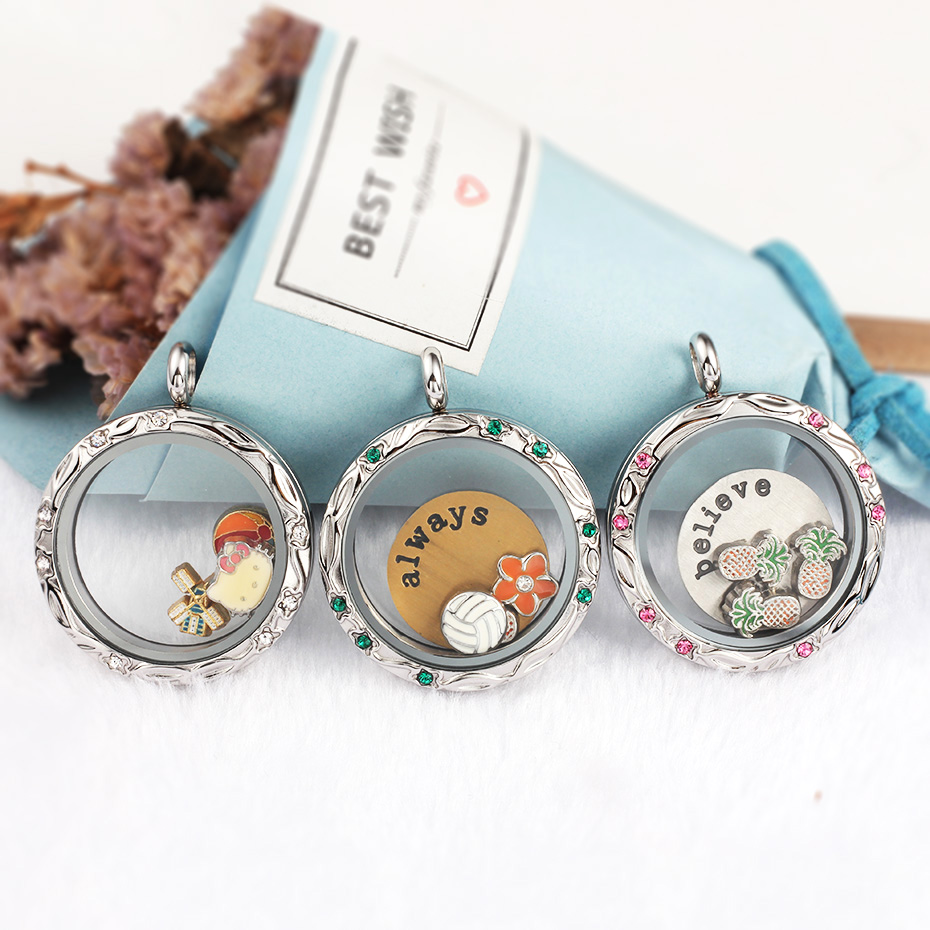 Twist Floating Locket Stainless Steel 316L Living Memory Stone Charms Plates Storage Screw Pendant Necklace Silver With Crystals