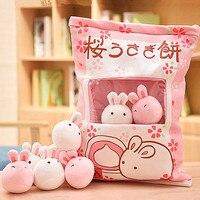 A Bag of Rabbit Plush Toys Kawaii Pink Sakura Rabbit Soft Stuffed Bunny Dolls Creative Kids Toys Girls Christmas Gifts