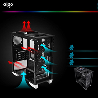 Aigo Desktop Computer Case Home Office ATX/MICRO ATX Gamer Pc Computer Chassis Cases LED RGB Panel Computer Cases Water Cooler