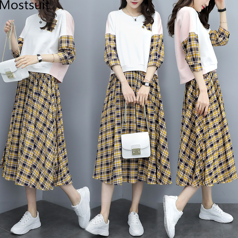Spring Plaid Two Piece Sets Women Sweatshirt Tops And Pleated Skirt Sets Suits Casual Korean Female Women's Sets Costumes 2019 27