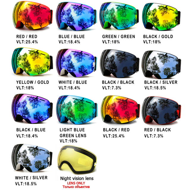 Winter Snow Sports Snowboard Ski Goggles With Anti-fog UV Protection