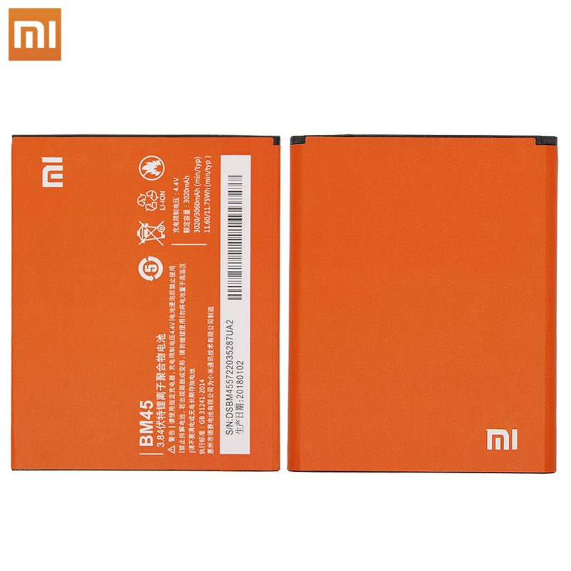Xiao Mi Original BM45 Mobile Phone Battery For Xiaomi Redmi Note 2 Hongmi Note2 Replacement Batteries Real Capacity 3020mAh