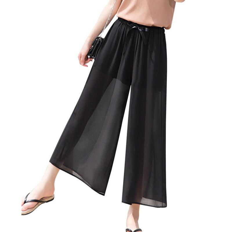 Hot Korean Loose Women Elastic waist Thin Chiffon   Wide     leg     pants   Summer Fashion Casual Lady Straight   Pants   Black Beach Trousers