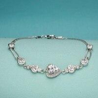 Bella Fashion 925 Sterling Silver Heart Bridal Bracelet Cubic Zircon Bracelet Wedding Women Party Jewelry Gift Clear/Pink/Blue