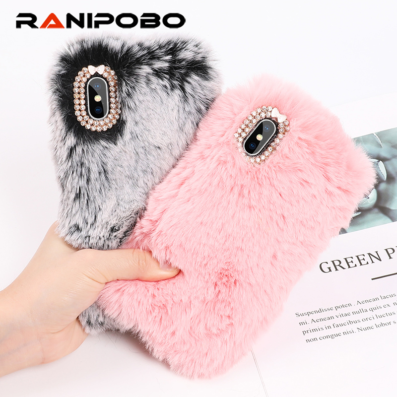 Rabbit Hair Case for iPhone XS Max 6 6s 7 8 Plus Bling Diamond Warm Fur Rhinestone Bling Plush Furry Hard Back Cover Cases Gift la palmyre zoo