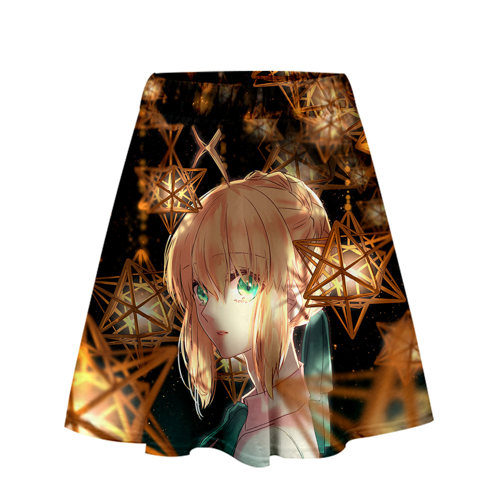 Fate/stay night TV animation <font><b>game</b></font> <font><b>3D</b></font> Summer Casual Skirt Cartoon Funny Harajuku <font><b>sexy</b></font> summer Trend Fashion Women's A-line skirt image