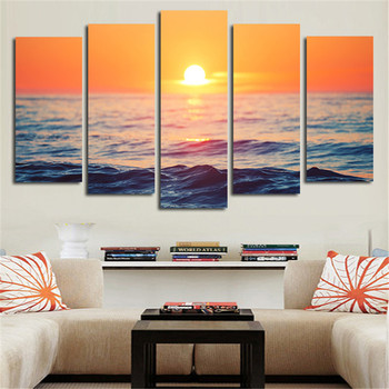 2016 5Plane No Framed Canvas Art Picture Landscape Sunrise Of The Sea Wall Painting Home Decoration Posters For Living Room no frame canvas
