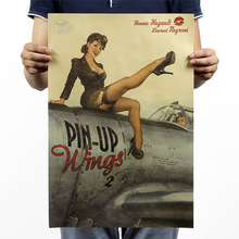 51x36cm High Quality 100% Vintage World War II Pinup Nostalgia Kraft Paper Poster Cafe Bar Decorated Home Decor Wall Stickers