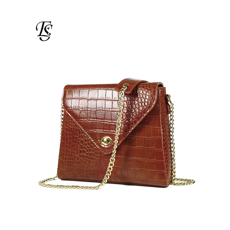 E SHUNFA brand female chain shoulder bag fashion crocodile pattern lock small square bag high quality