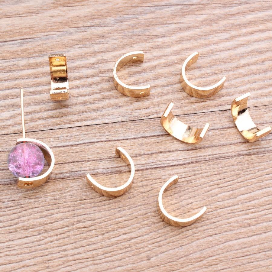10 Stück Silber Gold Farbe Halbrunden Runde Kreis Ohr Diy Charme Halskette Armband Ohrringe Anschlüsse Anhänger Schmuck Erkenntnisse Durchblutung Aktivieren Und Sehnen Und Knochen StäRken