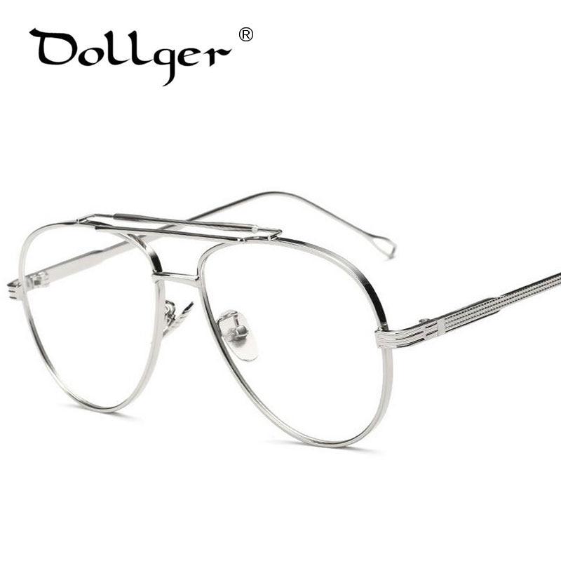 Dollger gold silver Pilot Eyewear Frames Men Brand Big Glasses Frame Myopia  Optical Eye Glasses Male Clear Lens Eyeglasses s1297 2b282e9a3e8