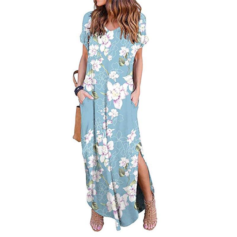 Print Floral Ethnic Vintage Retro Dress Women Bohemian Summer Beach Dress 2019 Split Asymmetrical Casual Loose Long Maxi Dress in Dresses from Women 39 s Clothing