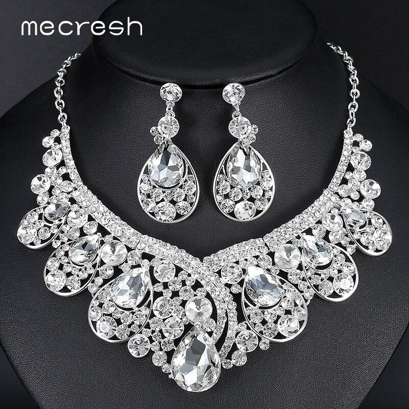 Mecresh luxurious big teardrop dubai wedding jewelry sets for Bridesmaid jewelry sets under 20