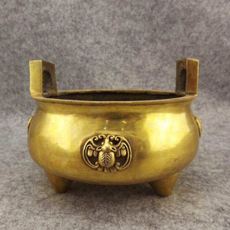 Old Antique Bronze Arts & Crafts Incense Burner Copper Incense Burner Buddha With Three-legged Antique Incense Burner