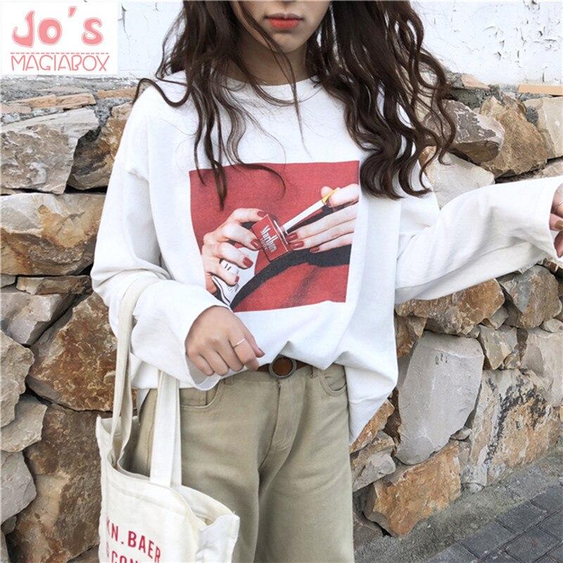 2018 T-shirt Sreetwear Drôle Hip Hop Fumer Imprimé Surdimensionné À Manches Longues T Shirt Femmes Harajuku Coton De Base CX607