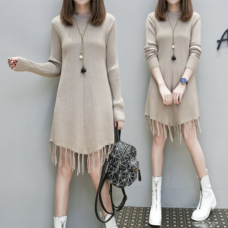 Sweaters Pregnant Women's Dresses In Autumn and Winter Korean Edition New Loose Medium length Knitted Dresseswit Bottom Knitting Dresses     - title=