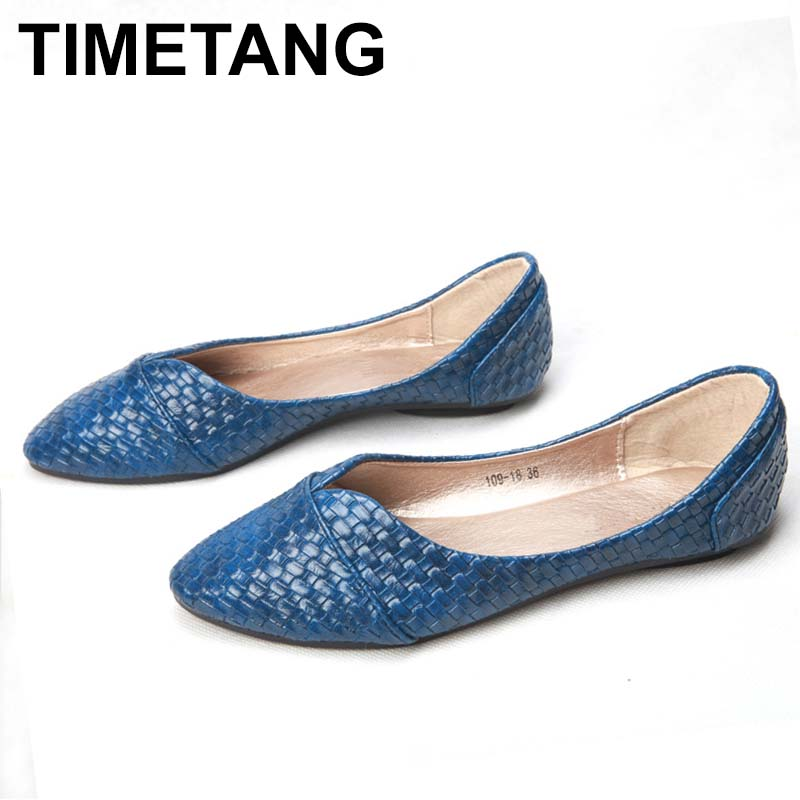 TIMETANG big size 40.41 new factore shoes women classic Knitted pu flat shoes lady pointed toe V-mouth casual spring fall C161 a21 big size 2016 spring fashion pointed shoes women flat shallow mouth candy colored women s shoes size foreign trade