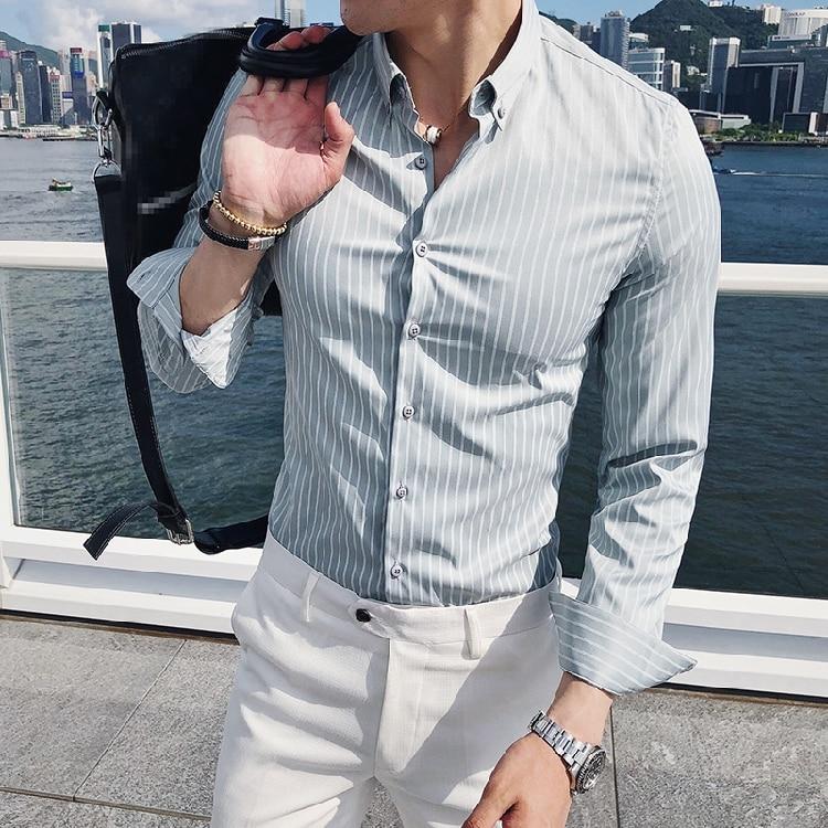 Korean Fashion Man Shirts High Quality Striped Light Green Camisa Masculina Slim