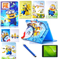High quality fashion PU Leather cover case For Samsung Galaxy Tab 4 10.1 T530 T531 T535 Despicable Me Minion Cover + film + pen