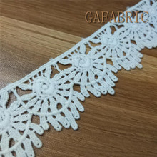 Guipure Lace 4-5cm Embroidered Cotton Lace Sewing Trim Water Soluble Lace DIY Handmade White Lace Cotton Fabric 5 yards/lot guipure lace panel frill trim sweatshirt