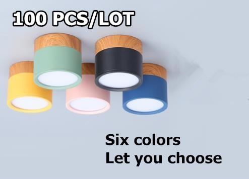 100 pièces LED Downlight plafonniers lampe de vie éclairage nordique pour intérieur lumière Surface montée downlamp AC220V 5 couleurs